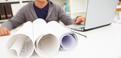 An architechts desk - building plans